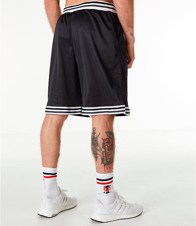 Back Right view of Men's Champion Life Basketball Shorts in Black/White