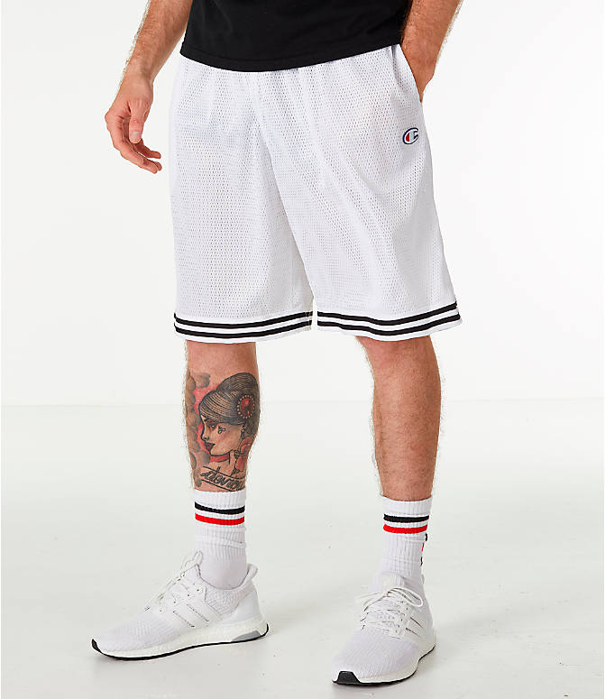Front view of Men's Champion Life Basketball Shorts in White/Black