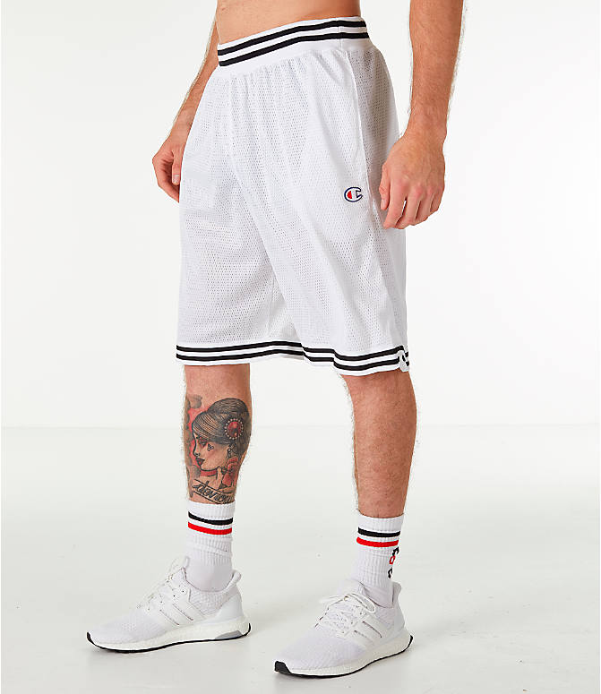 Front Three Quarter view of Men's Champion Life Basketball Shorts in White/Black