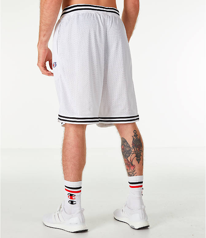 Back Left view of Men's Champion Life Basketball Shorts in White/Black