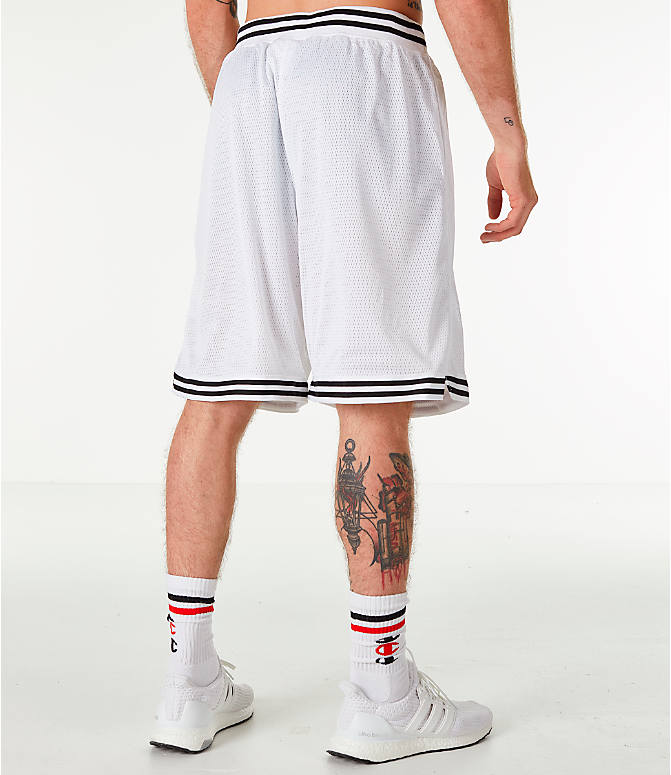 Back Right view of Men's Champion Life Basketball Shorts in White/Black