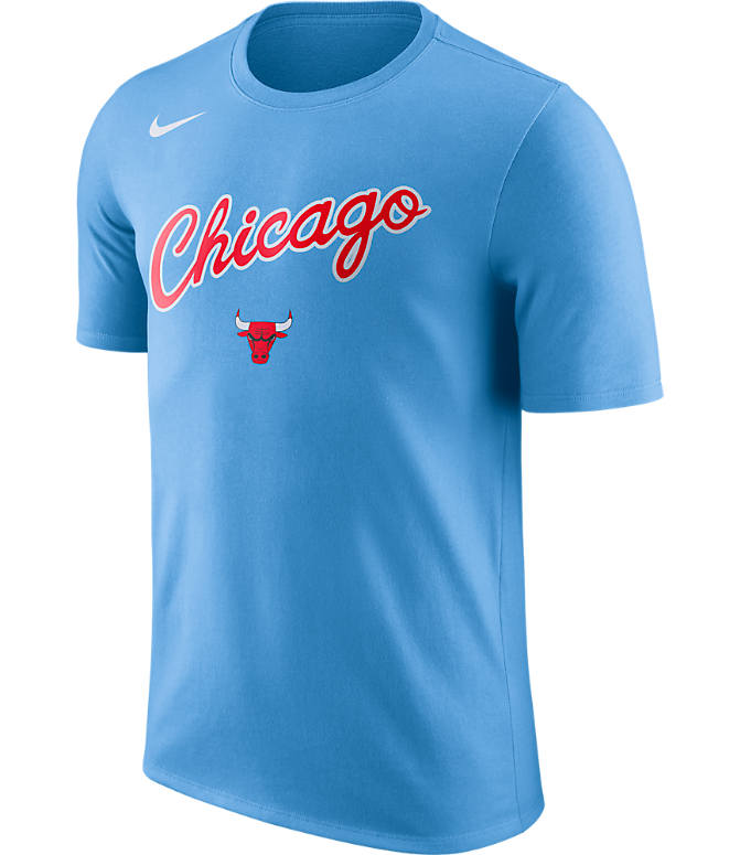 Front view of Men's Nike Chicago Bulls NBA Dry City T-Shirt in Valor Blue