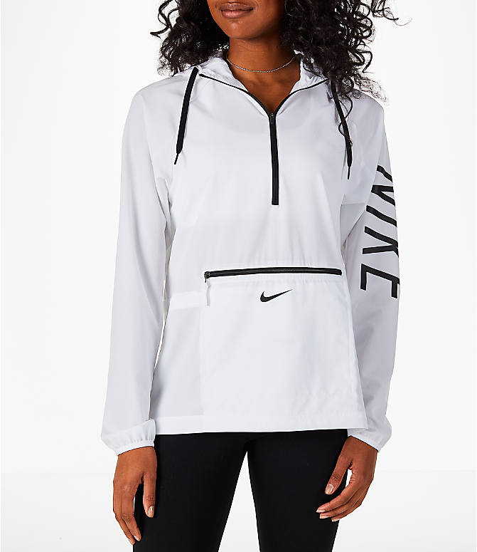 Front view of Women's Nike Flex Packable Training Jacket in White/Black