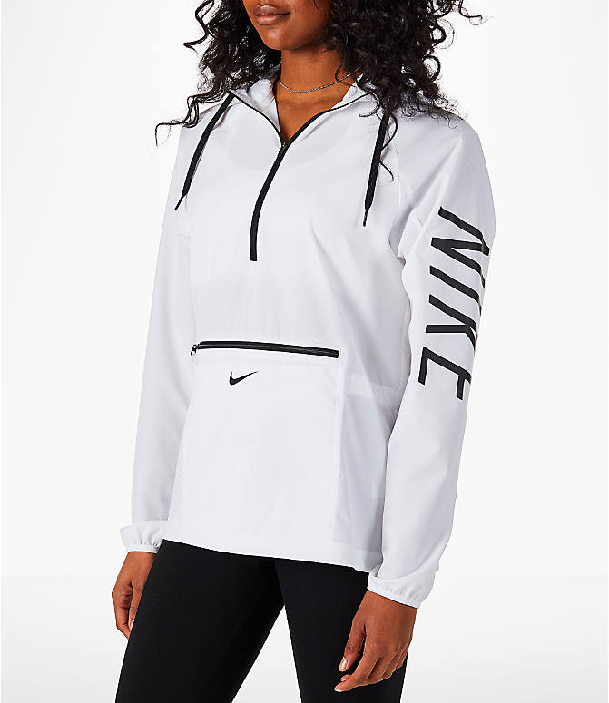 Front Three Quarter view of Women's Nike Flex Packable Training Jacket in White/Black