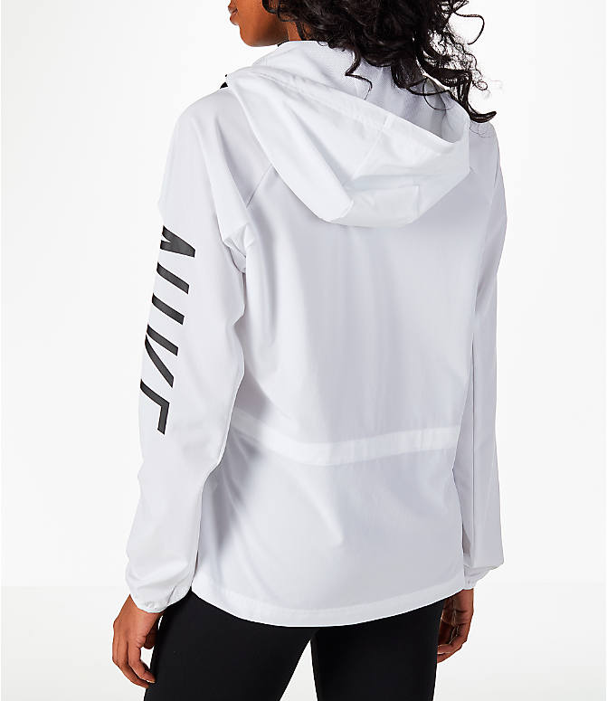 Back Left view of Women's Nike Flex Packable Training Jacket in White/Black