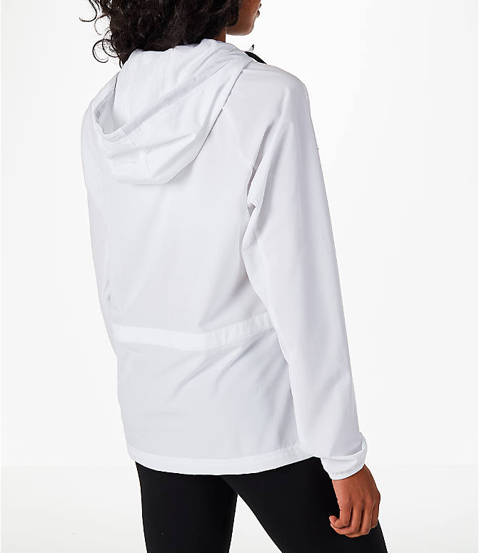 Back Right view of Women's Nike Flex Packable Training Jacket in White/Black