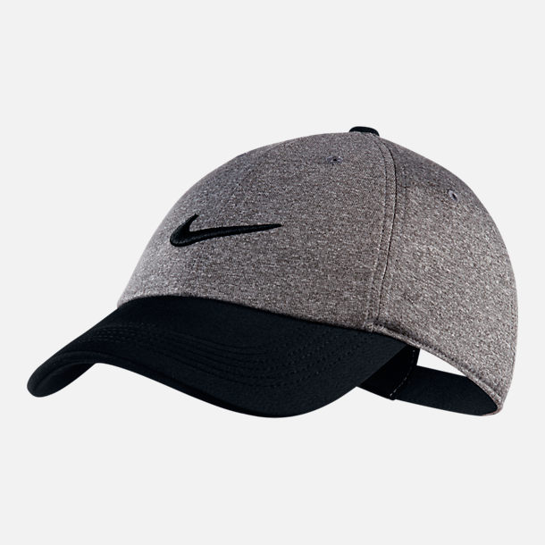 Front view of Unisex Nike AeroBill Heritage86 Legend Adjustable Hat in Black/Grey