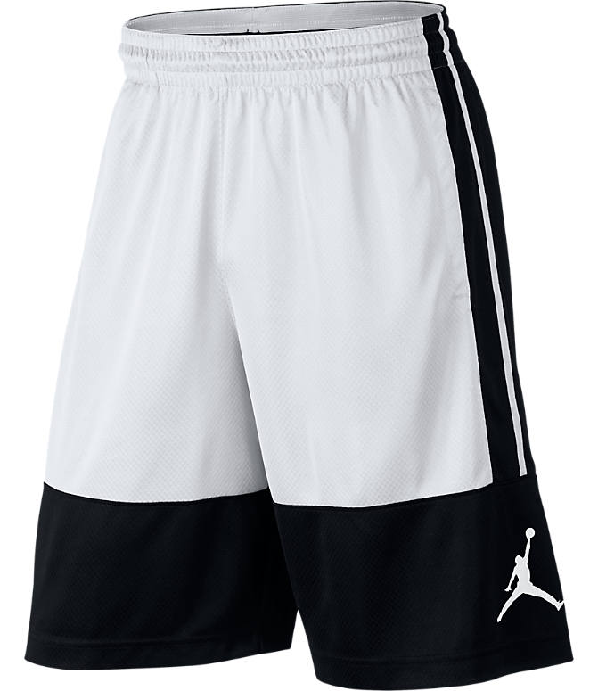 Front view of Men's Air Jordan Rise Solid Basketball Shorts in Black/White