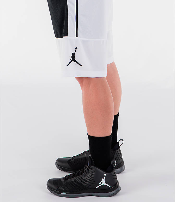 Detail 1 view of Men's Air Jordan Rise Solid Basketball Shorts in White/Black