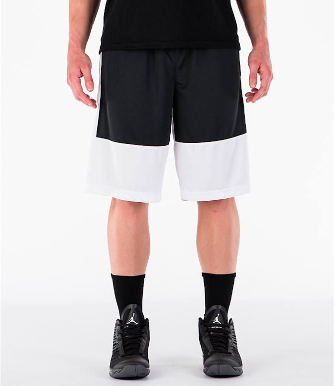 Front view of Men's Air Jordan Rise Solid Basketball Shorts in White/Black
