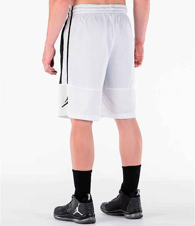 Back Left view of Men's Air Jordan Rise Solid Basketball Shorts in White/Black