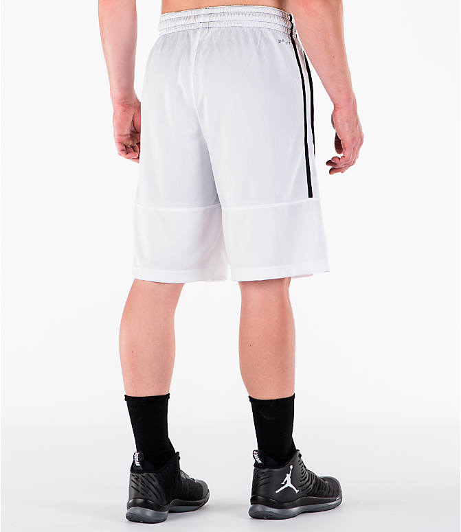Back Right view of Men's Air Jordan Rise Solid Basketball Shorts in White/Black