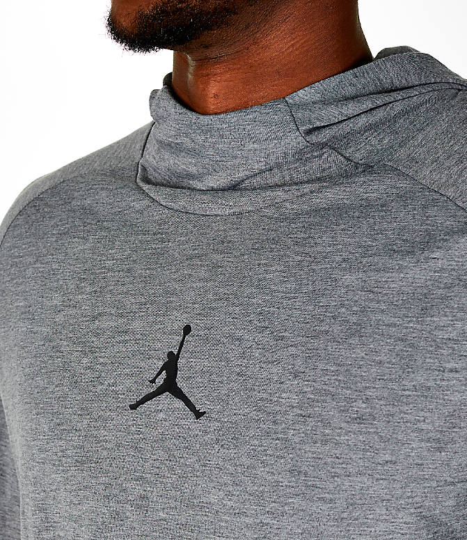 Detail 1 view of Men's Air Jordan 23 Alpha Long-Sleeve Training Hoodie in Carbon Heather/Black