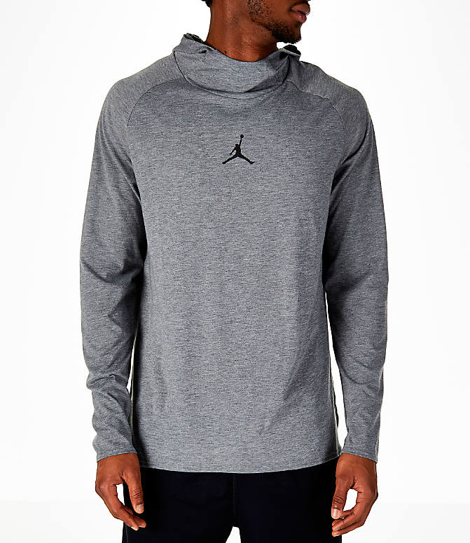 Front view of Men's Air Jordan 23 Alpha Long-Sleeve Training Hoodie in Carbon Heather/Black