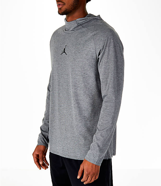 Front Three Quarter view of Men's Air Jordan 23 Alpha Long-Sleeve Training Hoodie in Carbon Heather/Black