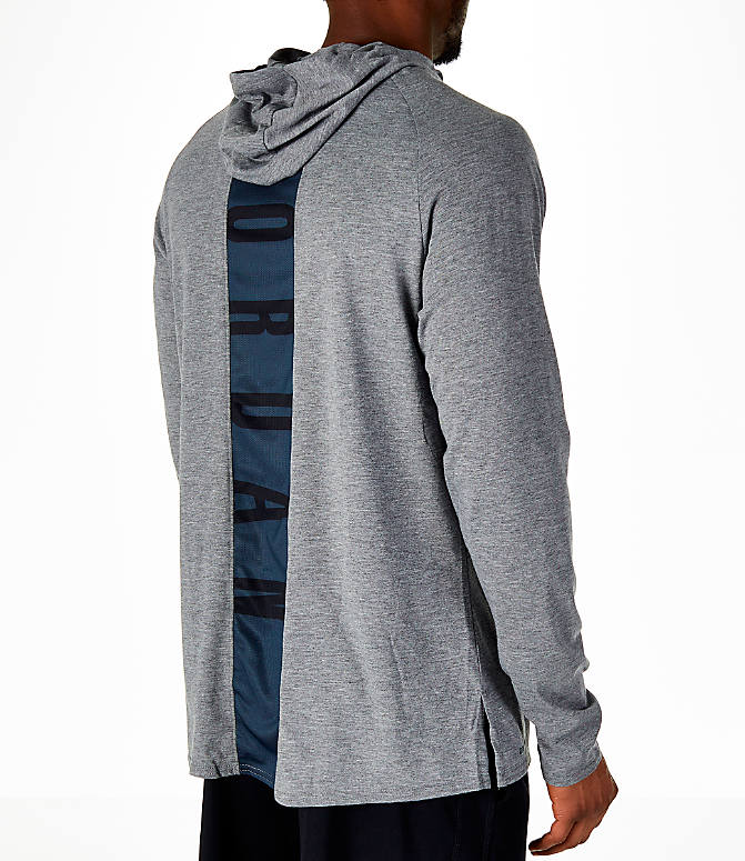 Back Right view of Men's Air Jordan 23 Alpha Long-Sleeve Training Hoodie in Carbon Heather/Black