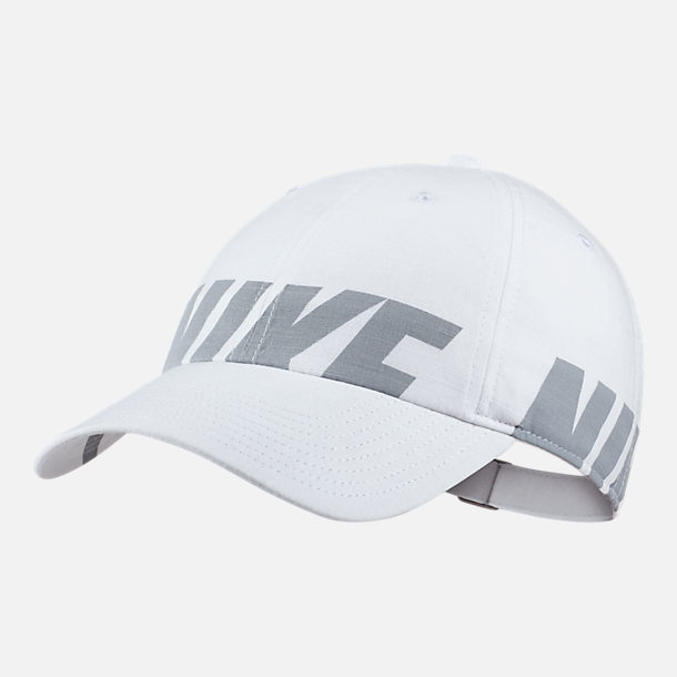 Front view of Women's Nike Sportswear Heritage86 Adjustable Back Hat in White/Wolf Grey