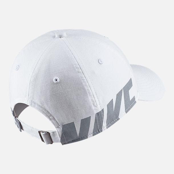 Back view of Women's Nike Sportswear Heritage86 Adjustable Back Hat in White/Wolf Grey