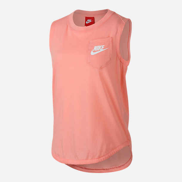 Front view of Girls' Nike Sportswear Muscle Tank in Bleached Coral/White