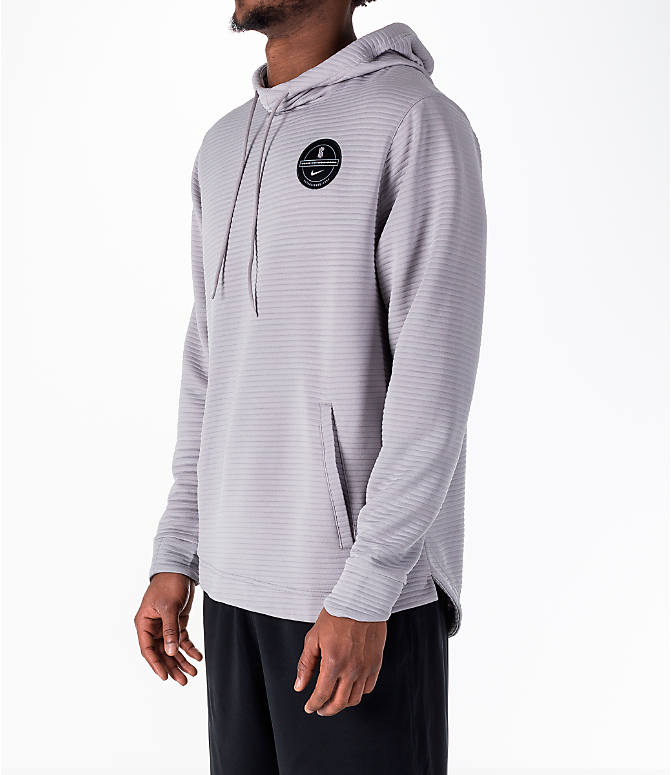 Front Three Quarter view of Men's Nike Dry Kyrie Hoodie in Grey