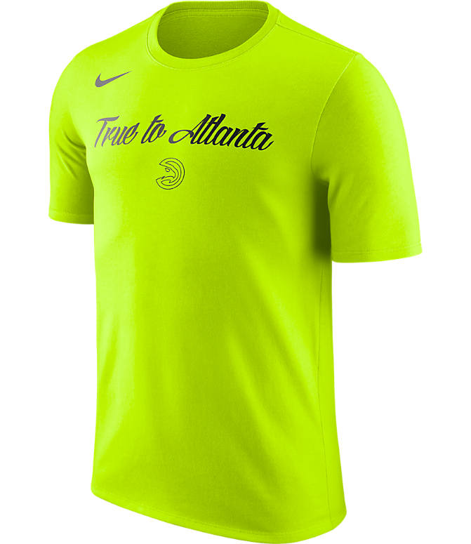 Front view of Men's Nike Atlanta Hawks NBA Dry City T-Shirt in Venom Green