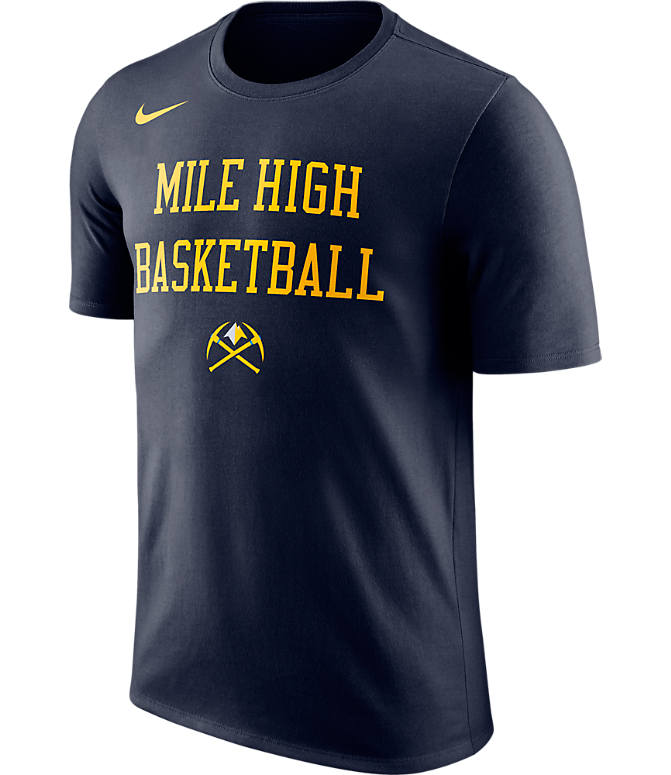 Front view of Men's Nike Denver Nuggets NBA Dry City T-Shirt in Navy