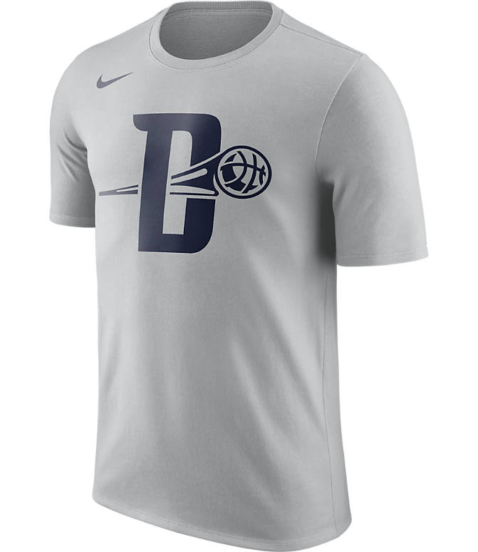 Front view of Men's Nike Detroit Pistons NBA Dry City T-Shirt in Silver