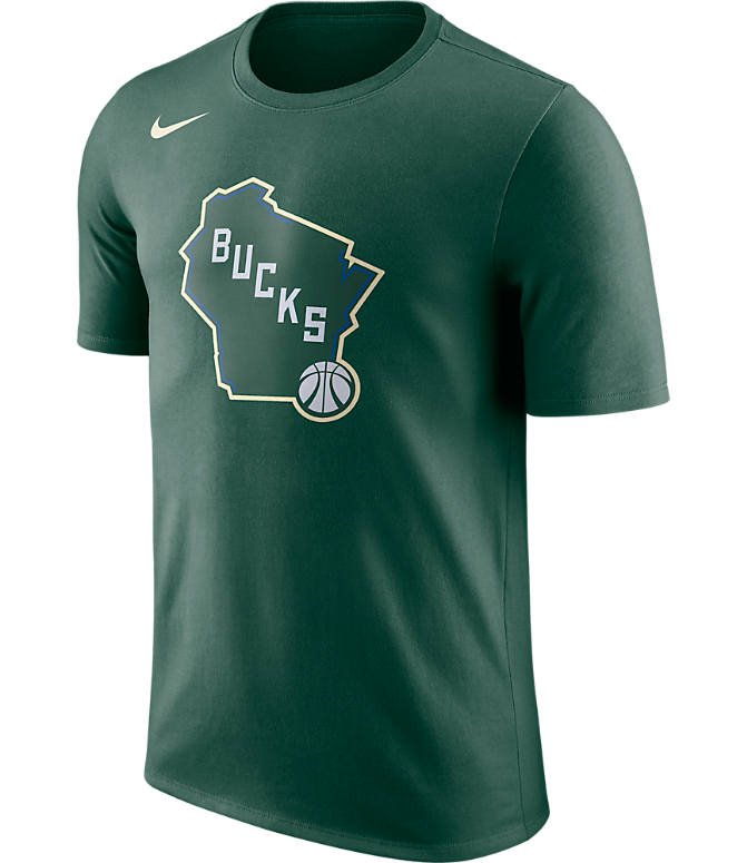 Front view of Men's Nike Milwaukee Bucks NBA Dry City T-Shirt in Green