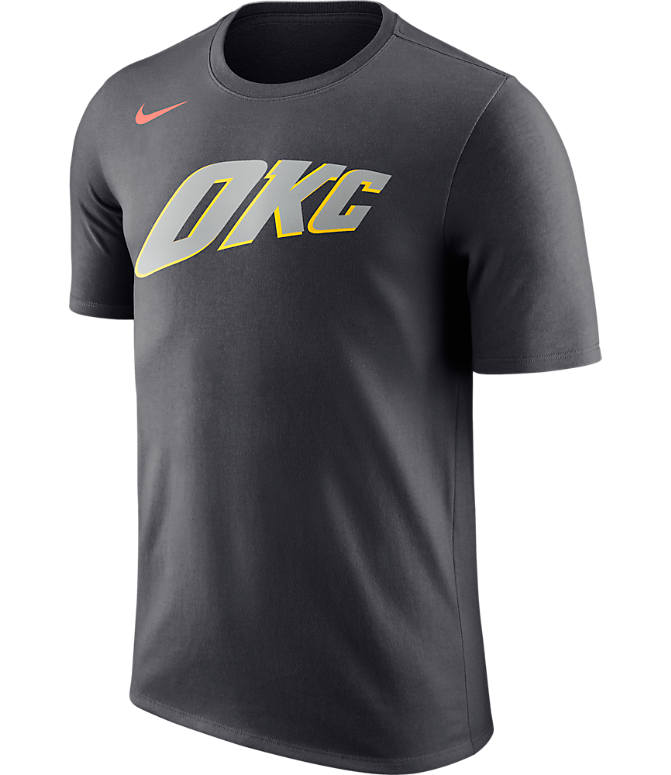 Front view of Men's Nike Oklahoma City Thunder NBA Dry City T-Shirt in Anthracite