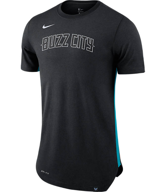 Front view of Men's Nike Charlotte Hornets NBA Alt Hem T-Shirt in Black