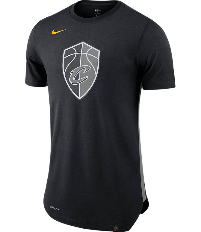 Front view of Men's Nike Cleveland Cavaliers NBA Alt Hem T-Shirt in Black