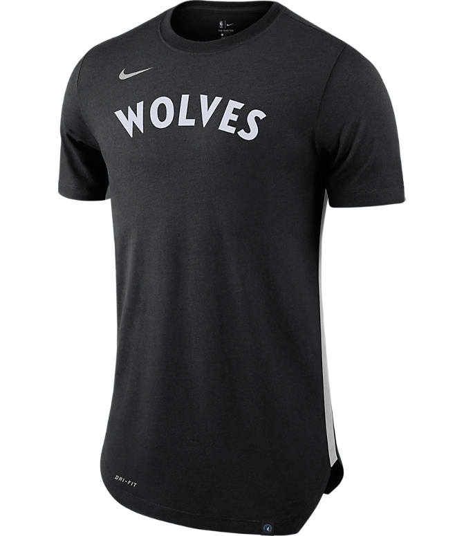 Front view of Men's Nike Minnesota Timberwolves NBA Alt Hem T-Shirt in Black/Silver