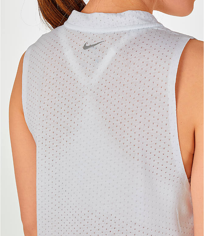 Detail 1 view of Women's Nike Tailwind Mock Crop Tank in White