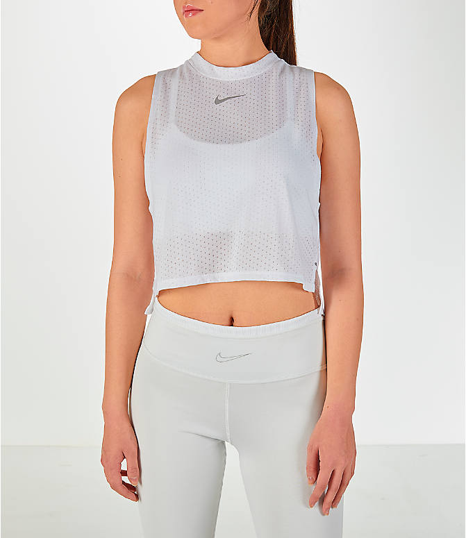Front view of Women's Nike Tailwind Mock Crop Tank in White