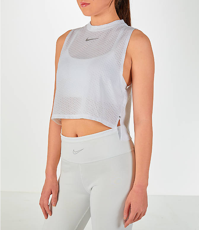 Front Three Quarter view of Women's Nike Tailwind Mock Crop Tank in White