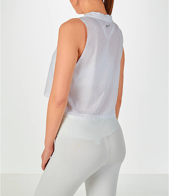 Back Left view of Women's Nike Tailwind Mock Crop Tank in White