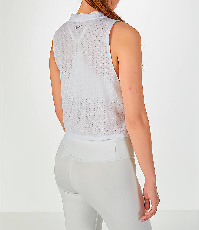 Back Right view of Women's Nike Tailwind Mock Crop Tank in White