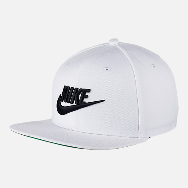 Front view of Unisex Nike Pro Futura Snapback Hat in White/Black