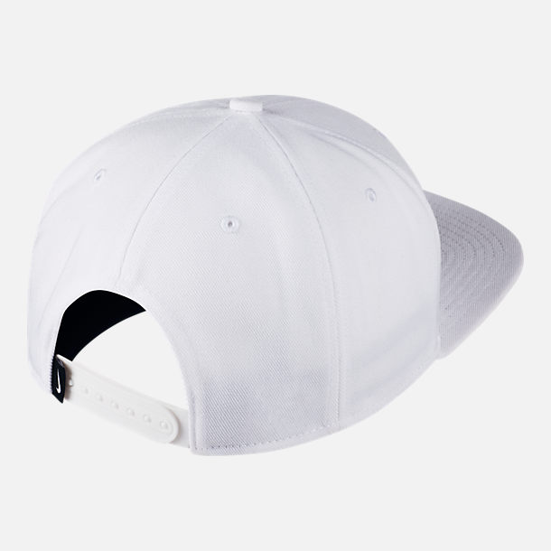 Back view of Unisex Nike Pro Futura Snapback Hat in White/Black