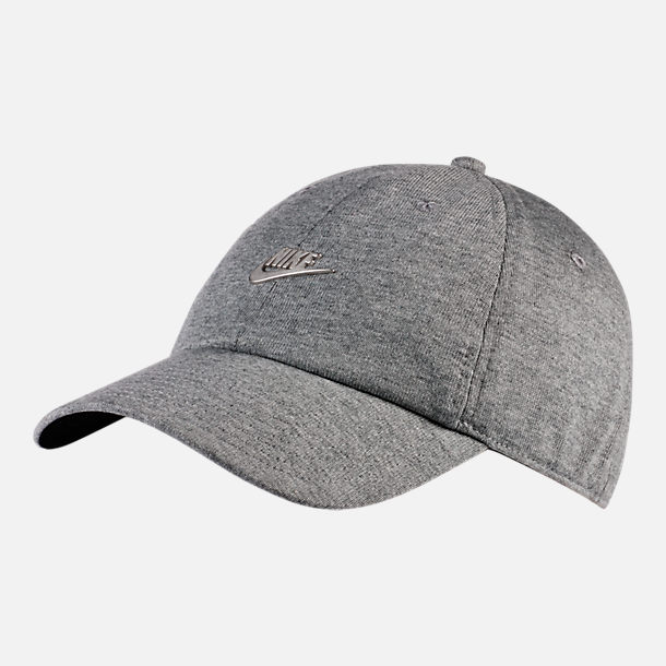 Front view of Nike Sportswear H86 Washed Futura Metal Adjustable Back Hat in Dark Grey Heather/Black/Silver