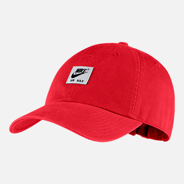 Front view of Unisex Nike Sportswear Heritage86 Washed Futura Adjustable Hat in University Red/Black