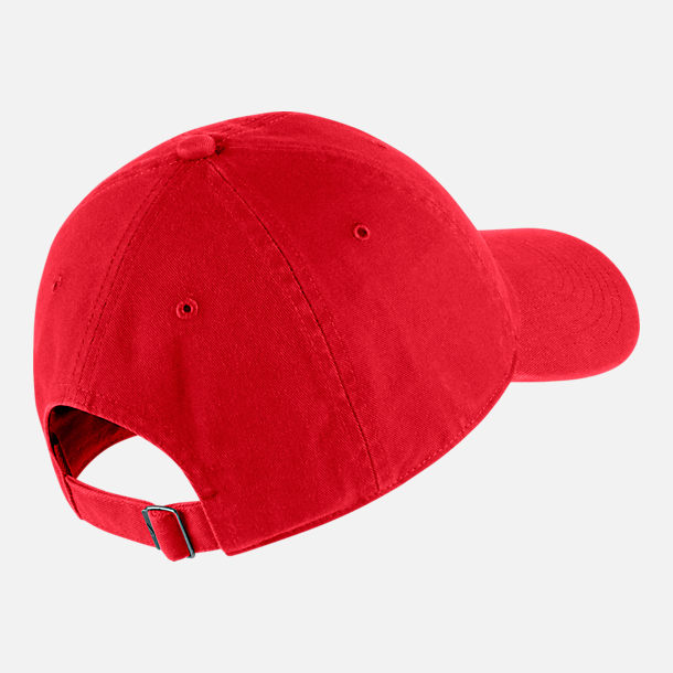 Back view of Unisex Nike Sportswear Heritage86 Washed Futura Adjustable Hat in University Red/Black