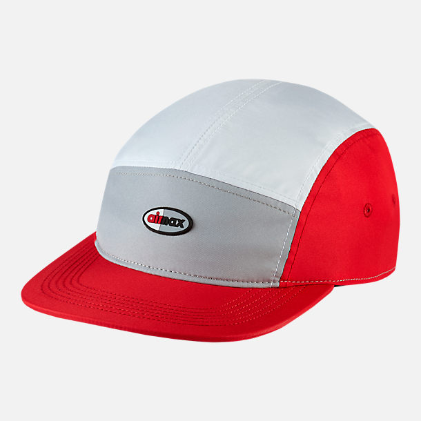 Front view of Unisex Nike Sportswear AW84 Adjustable Back Hat in Wolf Grey/White/University Red