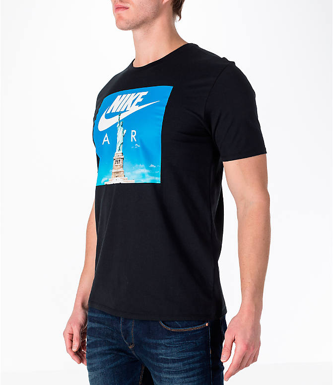 Front Three Quarter view of Men's Nike Sportswear Air 1 T-Shirt in Black