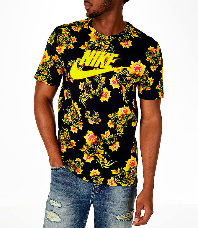 Front view of Men's Nike Sportswear Floral T-Shirt in Black/Tour Yellow