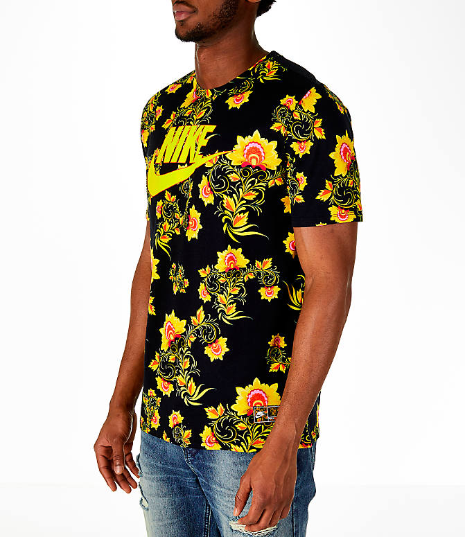 Front Three Quarter view of Men's Nike Sportswear Floral T-Shirt in Black/Tour Yellow