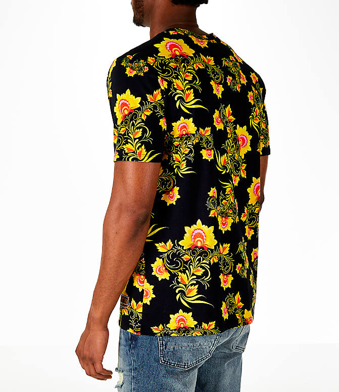 Back Left view of Men's Nike Sportswear Floral T-Shirt in Black/Tour Yellow