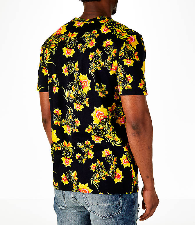 Back Right view of Men's Nike Sportswear Floral T-Shirt in Black/Tour Yellow