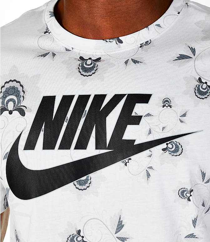 Detail 1 view of Men's Nike Sportswear Floral T-Shirt in White/Black