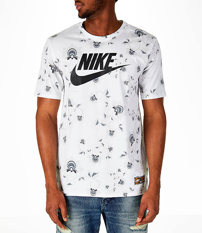 Front view of Men's Nike Sportswear Floral T-Shirt in White/Black